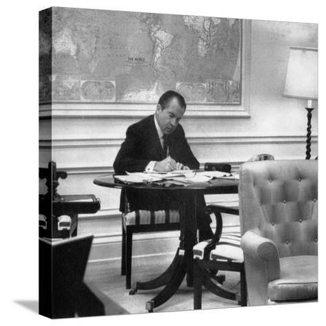 1971 US Presidency, President Richard Nixon Working on His State of the Union Address, January 1971--Stretched Canvas Print