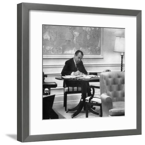 1971 US Presidency, President Richard Nixon Working on His State of the Union Address, January 1971--Framed Art Print