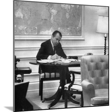 1971 US Presidency, President Richard Nixon Working on His State of the Union Address, January 1971--Mounted Photo