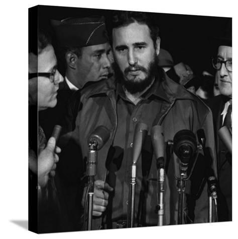 Fidel Castro Arrives Mats Terminal, Washington D.C.-Warren K^ Leffler-Stretched Canvas Print