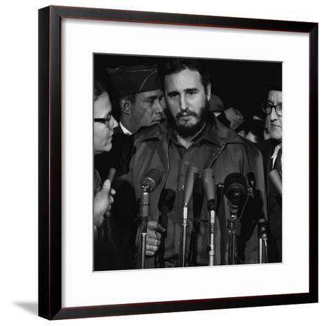 Fidel Castro Arrives Mats Terminal, Washington D.C.-Warren K^ Leffler-Framed Art Print