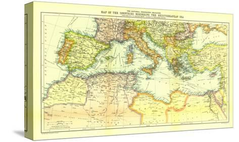 1912 Countries Bordering the Mediterranean Sea Map-National Geographic Maps-Stretched Canvas Print