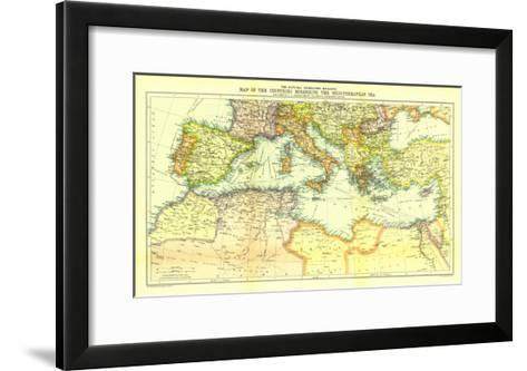 1912 Countries Bordering the Mediterranean Sea Map-National Geographic Maps-Framed Art Print