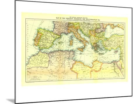 1912 Countries Bordering the Mediterranean Sea Map-National Geographic Maps-Mounted Art Print