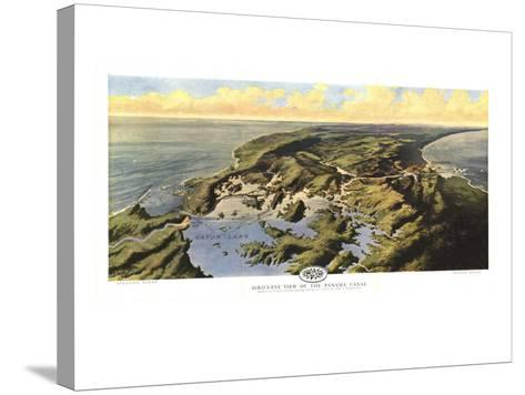 1912 Birds Eye View of the Panama Canal Map-National Geographic Maps-Stretched Canvas Print