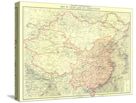 1912 China and Its Territories Map-National Geographic Maps-Stretched Canvas Print