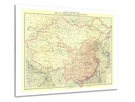 1912 China and Its Territories Map-National Geographic Maps-Metal Print