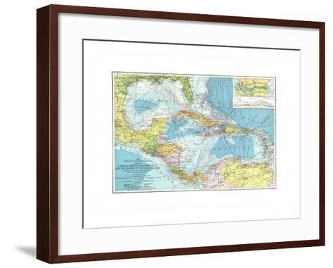 1913 Central America, Cuba, Porto Rico, and the Islands of the Caribbean Sea-National Geographic Maps-Framed Art Print