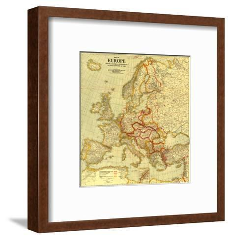 1921 Map of Europe Showing the Countries Established by the Peace Conference of Paris-National Geographic Maps-Framed Art Print