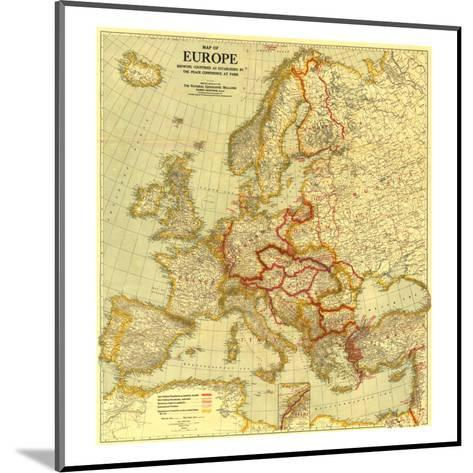 1921 Map of Europe Showing the Countries Established by the Peace Conference of Paris-National Geographic Maps-Mounted Art Print