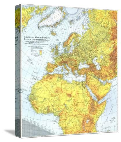 1942 Theater of War in Europe, Africa and Western Asia Map-National Geographic Maps-Stretched Canvas Print
