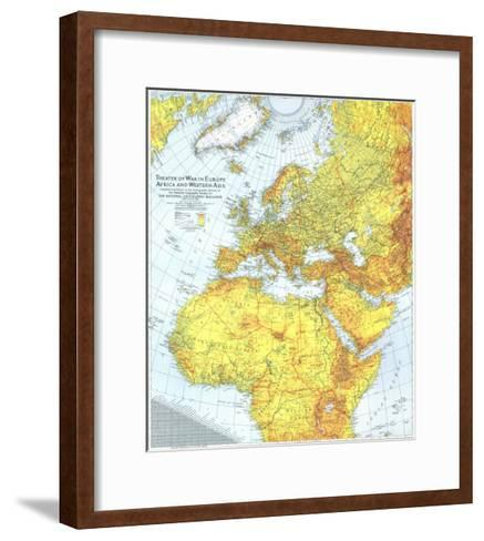 1942 Theater of War in Europe, Africa and Western Asia Map-National Geographic Maps-Framed Art Print