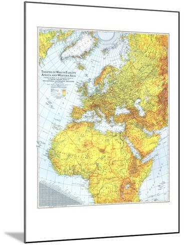 1942 Theater of War in Europe, Africa and Western Asia Map-National Geographic Maps-Mounted Art Print