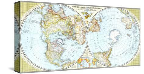 1943 Northern and Southern Hemispheres Map-National Geographic Maps-Stretched Canvas Print