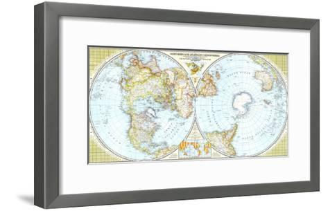 1943 Northern and Southern Hemispheres Map-National Geographic Maps-Framed Art Print
