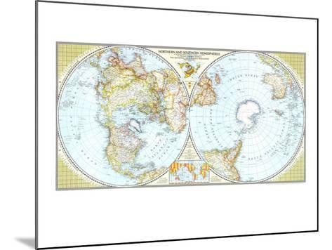 1943 Northern and Southern Hemispheres Map-National Geographic Maps-Mounted Art Print