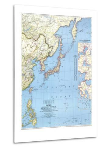 1944 Japan and Adjacent Regions of Asia and the Pacific Ocean Map-National Geographic Maps-Metal Print