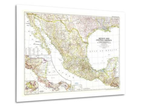 1953 Mexico and Central America Map-National Geographic Maps-Metal Print