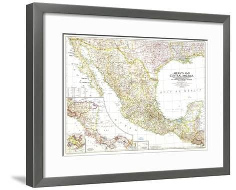 1953 Mexico and Central America Map-National Geographic Maps-Framed Art Print