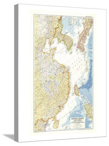 1953 China Coast and Korea Map-National Geographic Maps-Stretched Canvas Print