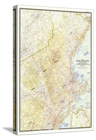 1955 Map of New England with Descriptive Notes-National Geographic Maps-Stretched Canvas Print