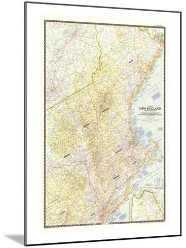 1955 Map of New England with Descriptive Notes-National Geographic Maps-Mounted Art Print