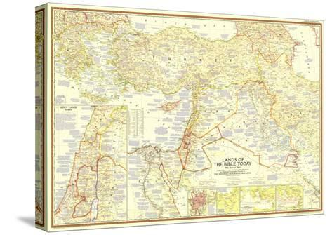 1956 Lands of the Bible Today Map-National Geographic Maps-Stretched Canvas Print