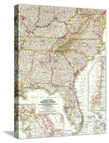 1958 Southeastern United States Map-National Geographic Maps-Stretched Canvas Print