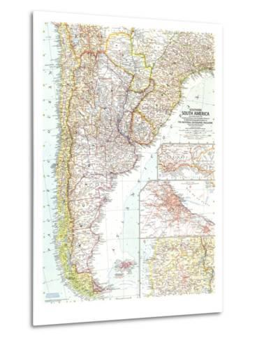 1958 Southern South America Map-National Geographic Maps-Metal Print