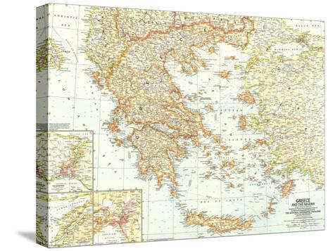 1958 Greece and the Aegean Map-National Geographic Maps-Stretched Canvas Print