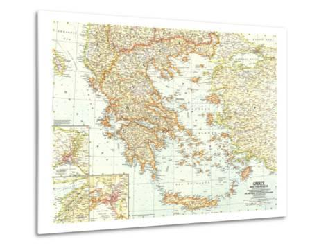 1958 Greece and the Aegean Map-National Geographic Maps-Metal Print