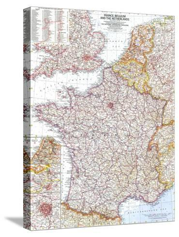 1960 France, Belgium and the Netherlands Map-National Geographic Maps-Stretched Canvas Print