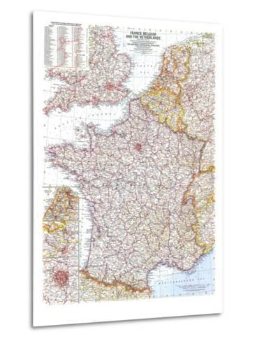 1960 France, Belgium and the Netherlands Map-National Geographic Maps-Metal Print