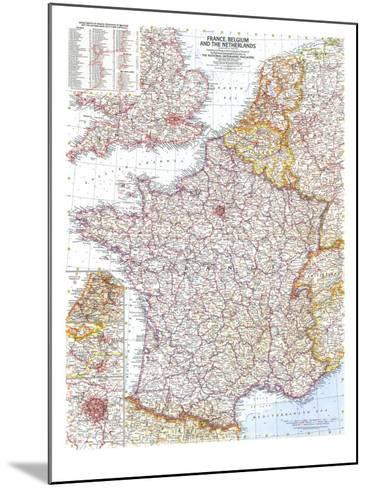 1960 France, Belgium and the Netherlands Map-National Geographic Maps-Mounted Art Print