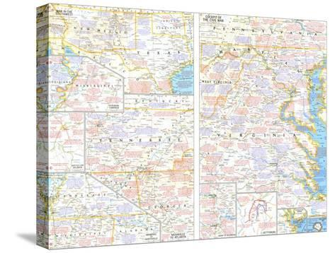 1961 Battlefields of the Civil War Theme-National Geographic Maps-Stretched Canvas Print