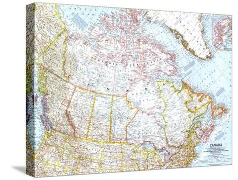 1961 Canada Map-National Geographic Maps-Stretched Canvas Print