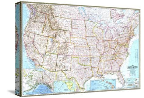 1968 United States Map-National Geographic Maps-Stretched Canvas Print