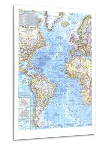 1968 Atlantic Ocean Map-National Geographic Maps-Metal Print