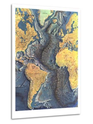 1968 Atlantic Ocean Floor Map-National Geographic Maps-Metal Print