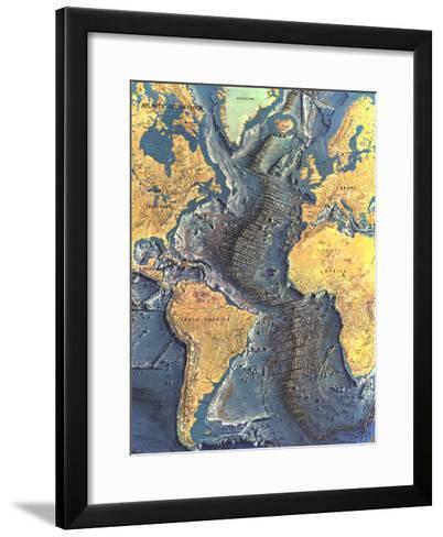 1968 Atlantic Ocean Floor Map-National Geographic Maps-Framed Art Print