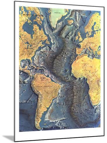 1968 Atlantic Ocean Floor Map-National Geographic Maps-Mounted Art Print