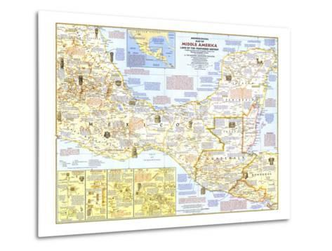 1968 Archeological Map of Middle America-National Geographic Maps-Metal Print
