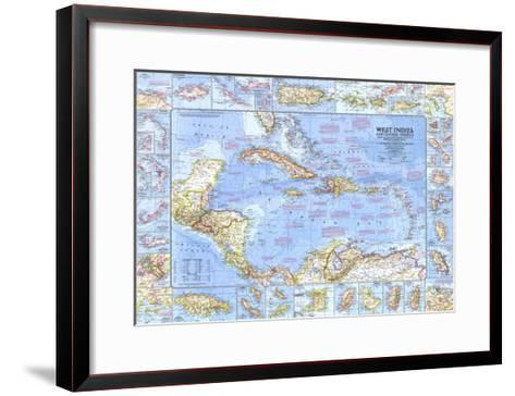 1970 West Indies and Central America Map-National Geographic Maps-Framed Art Print