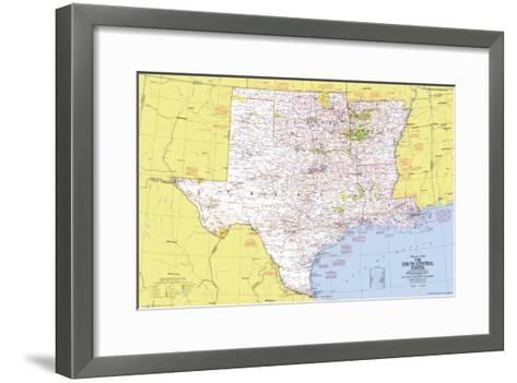 1974 Close-up USA, South Central States Map-National Geographic Maps-Framed Art Print