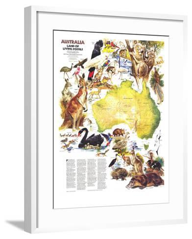 1979 Australia, Land of Living Fossils Map-National Geographic Maps-Framed Art Print