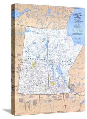 1979 Saskatchewan and Manitoba Canada Map-National Geographic Maps-Stretched Canvas Print