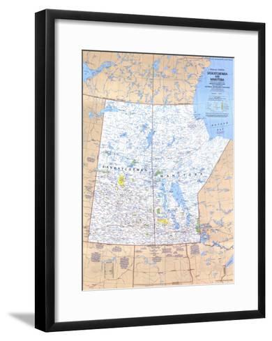 1979 Saskatchewan and Manitoba Canada Map-National Geographic Maps-Framed Art Print