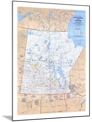 1979 Saskatchewan and Manitoba Canada Map-National Geographic Maps-Mounted Art Print