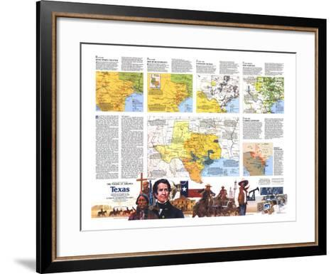 1986 The Making of America, Texas Theme-National Geographic Maps-Framed Art Print