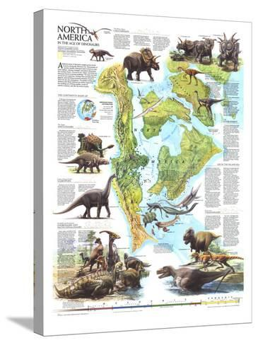 1993 North America in the Age of the Dinosaurs Map-National Geographic Maps-Stretched Canvas Print